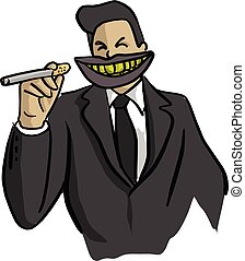 businessman with big dirty mouth holding cigarette vector illustration sketch doodle hand drawn with black lines isolated on white background