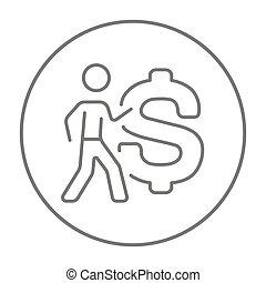 Businessman with big dollar symbol line icon. - Businessman...