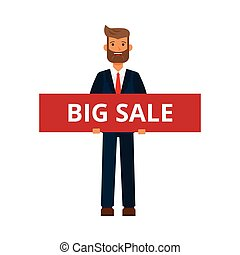 businessman with big sale sign cartoon flat vector illustration concept on isolated white background