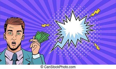 businessman with bills dollars pop art animation ,4k video ...