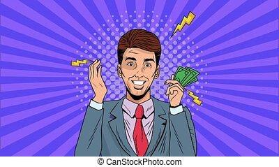 businessman with bills dollars pop art animation