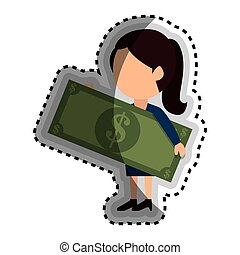 businessman with bills money isolated icon