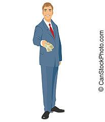 Businessman with bills