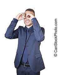 businessman with binocular hands