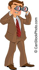 businessman with binoculars - businessman in brown suit with...