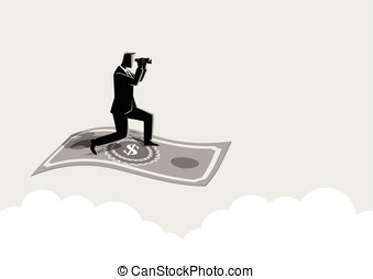 Businessman with binoculars flying on banknote
