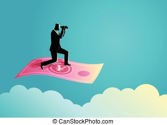 Businessman with binoculars flying on Yuan banknote