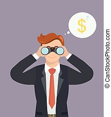 Businessman with binoculars looking for money