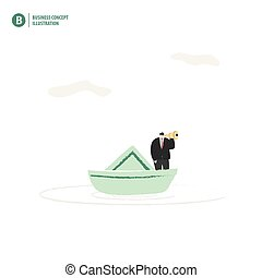 Businessman with binoculars on a boat in the ocean meaning  vision of leader on white background illustration vector. Business concept.