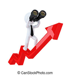 Businessman with binoculars on top of the graph arrow....