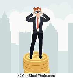 Businessman with binoculars standing on money