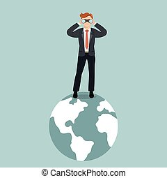 Businessman with binoculars standing on the planet. Looking...
