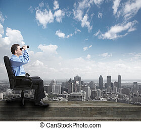 Businessman with binoculars. Over abstract background....