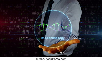 Businessman with biotechnology and DNA helix hologram - Man...