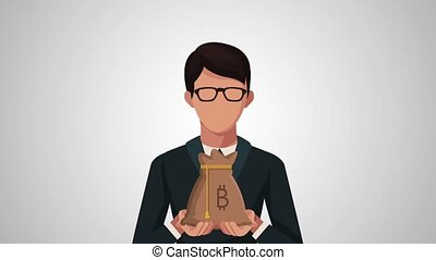 businessman with bitcoin ecommerce animation