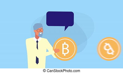 businessman with bitcoins and speech bubble animation -...