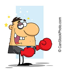 Businessman with Black Eye Wears Boxing Gloves,background