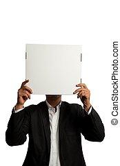 Businessman with blank carton
