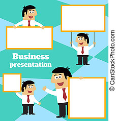 Businessman with blank sign banner and placard