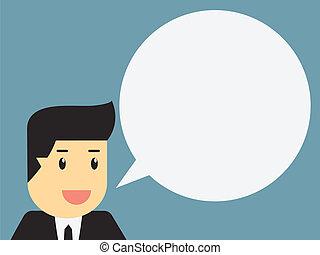 businessman with blank speech bubble