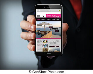 businessman with blog smartphone