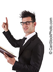 businessman with book pointing