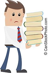 Businessman with books on a white background. Office worker carrying heavy books. The