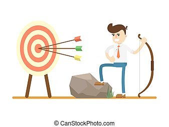 Businessman with bow near archery target
