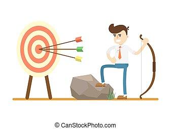 Businessman with bow near archery target