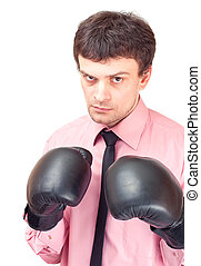 Businessman with boxing gloves.
