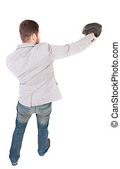 businessman with boxing gloves in fighting stance.