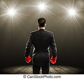 man with boxing gloves - businessman with boxing gloves,...