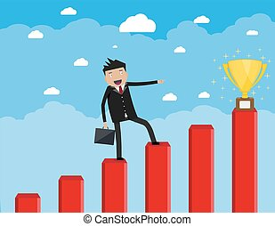 businessman with breafcase standing on graph