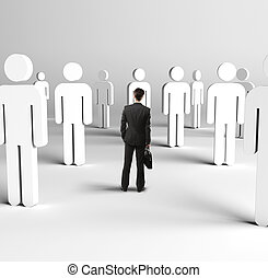 3d people - businessman with briefcase and 3d people