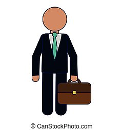 Businessman with briefcase avatar blue lines