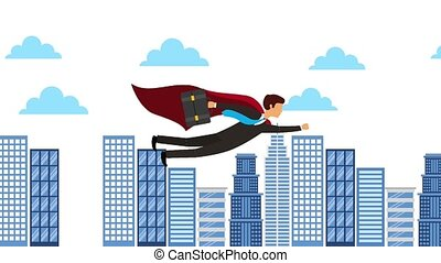 businessman with briefcase flying city sky animation hd