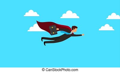 businessman with briefcase flying success animation hd