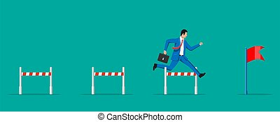 Businessman with briefcase runs on obstacle course. Business man jumping over the barrier. Financial crisis. Risk management challenge. Achievement and goal. Flat vector illustration