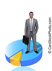 Businessman with briefcase standing on pie-chart