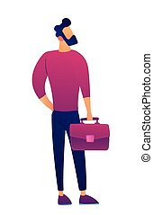 Businessman with briefcase vector illustration.