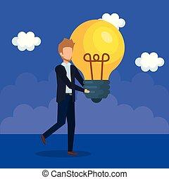 businessman with bulb light idea