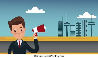 Businessman with bullhorn at city HD animation - Businessman...