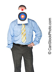 Businessman with bulls eye on forehead