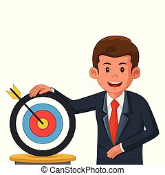 Businessman with Bullseye Target Illustration