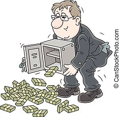 Businessman with bundles of money