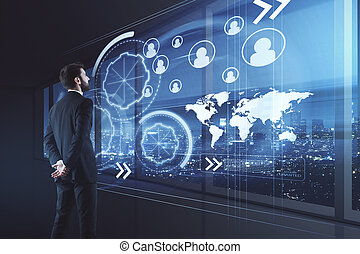 Businessman with business interface