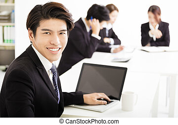 businessman with business people having meeting together