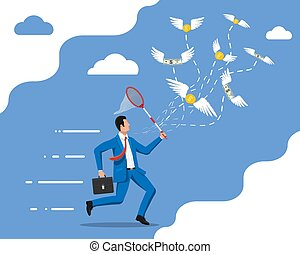 Businessman with butterfly net chasing money
