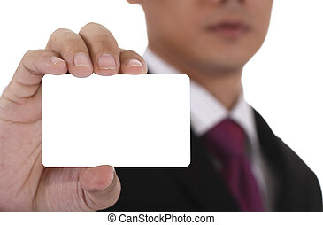 Businessman with card.