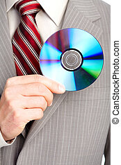 businessman with cd